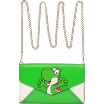 Cartera Tipo Sobre De Yoshi C/ Cadena Importada Mario Luigi