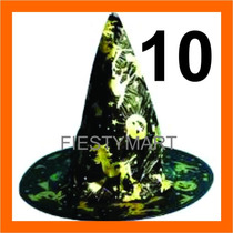 10 Sombrero Bruja De Tela Fiestas Disfraz Halloween