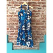 Solero Azul Francia Con Flores Hawaianas En Blanco