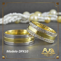 Alianças Ouro 12k Ouro Branco Pedras-7mm-frete 12xs/j Dpx10