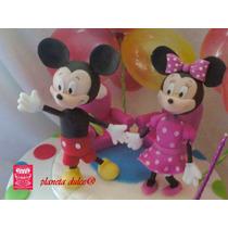 Adorno Torta Mickey Minnie + Nombre + Velita *planeta Dulce*