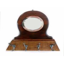 Cabideiro Cabide Parede C/ 4 Ganchos E Espelho Bisote 1932