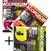 Coleção 3 Revistas + 3 Dvd Curso Acordeon Especial Minuano