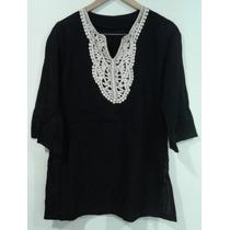Blusa Importada Negra Con Aplique Tejido Blanco Talle 2 (i)