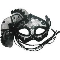 Disfraz Mascarada Máscara D/ojos Negra Transparente Moño