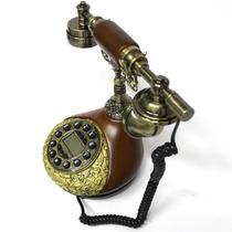 Aparelho De Telefone Antigo Retrô Vintage Dourado Madeira
