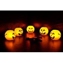 Set 5 Calabazas Chicas Con Velas Led Incluidas Halloween
