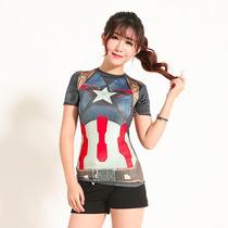 Camiseta Dama Capitan America Gym Sport Deportiva