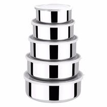 Conjunto Tigelas Potes Bowls Inox Tampa Plástica 5 Pçs