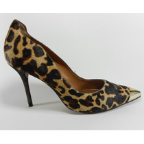 Sapato Scarpin Feminino Arezzo Pele Onça Couro Dourado 38