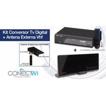 Kit Conversor Tv Digital Gravador Hdmi + Antena Externa Hdtv