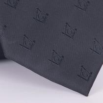 Gravata Com Desenho Maçonaria Em Poliester Preta Textura La