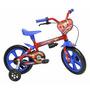 Bicicleta Infantil Aro 12 Vermelha E Adesivos Homem Aranha