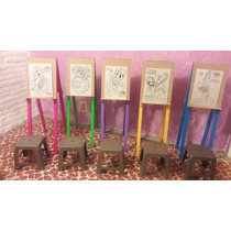 Caballetes Infantiles De Madera Dobles. Fiestas-pintura