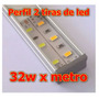 Perfil Aluminio C/tira Led Doble 32w X Metro 5630 2500lumens