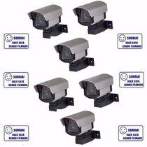 Kit 6 Câmeras De Segurança Falsa Com Led E 6 Placas De Aviso