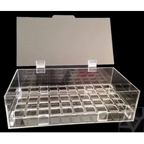 Caixa / Estojo Porta 50 Batom Acrílico Organizador C/ Tampa