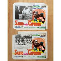 El Santo Capulina Cartel Lobby Card Original 1969 Set De 2 .