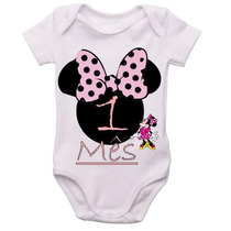 Kit 12 Body Infantil Mês A Mês Mesversario Minnie