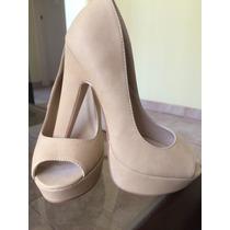 Zapatos Altos De Color Nude
