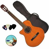 Guitarra Electro Criolla Corte Zurda Ecualizador Funda Curso