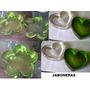 Jaboneras Acrilicas Flor Corazon Verde Y Transparente Oferta