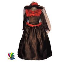 Disfraz Catrina Niña Halloween Con Sombrero Talla 8