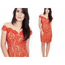 Vestido Vermelho Renda Curto Elegante/ Festa -pronta Entrega