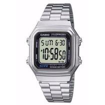Relógio Classico Retro Vintage A178wa Prateado E Dourado