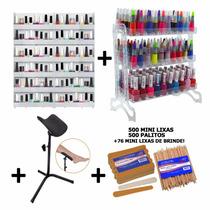 Kit Manicure Display Esmaltes Suporte Pedicure Lixas Palitos