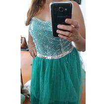 Vestido De Festa Longo Madrinha 42 Com Miçangas Tule.