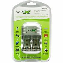 Carregador Flex Fx-c03 P/ Pilhas Recarregáveis Aa Aaa Bat 9v