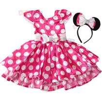Vestido Fantasia Festa Minie Rosa Ou Minnie Vermelha + Tiara