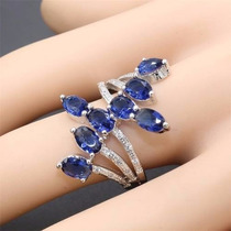 Anel Feminino De Prata 925 Safira Azul