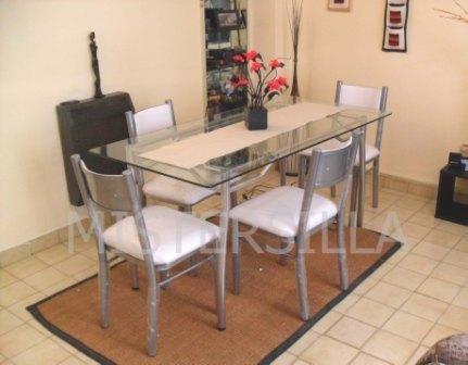 Juego comedor 4 sillas new forte   mesa vidrio rectangular ...