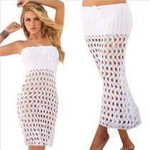 Vestido Falda Playa Traje De Baño Bikini Tejido Blanco Piel
