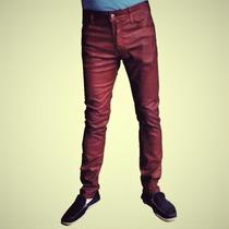 Calça Jeans Resinada Masculina Skinny Vermelha Dixie Dxj 61