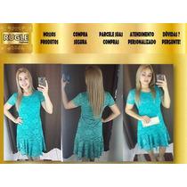 Vestido Renda Manguinha Babado Verde Lindo