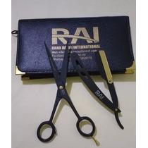 Tesouras & Navalha Profissional Kit Importada Rai 6.5