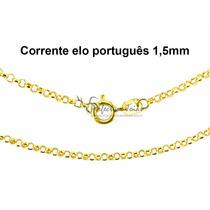 Frete Grátis! Cordão - Corrente Elo Português 45cm Ouro 18k