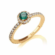 Anel Compromisso Em Ouro 18k Diamantes E Esmeralda