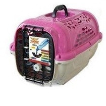 Caixa De Transporte Com Pote N4 Cor Rosa Para Cães Até 18kg