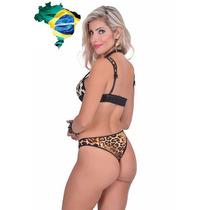 Sexy Conjunto Leopardo Brasier Tanga Sexshop Brasileño - G