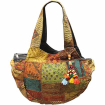 Bolsa Meia Lua Patchwork Natural - India
