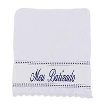 Toalha De Boca Bordada Meu Batizado Azul Marinho - Brubrelel