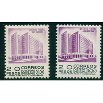 Mexico Serie 1950 1975 $20 D.f. Fil. Papel Fluor. 2 Timbres