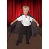 Capa Negra Con Cuello Rojo Disfraz Candela Vampiro Dracula