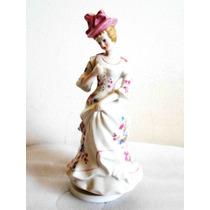 Antigua Figura Musical Porcelana Esmaltada Giratoria 20 Cm