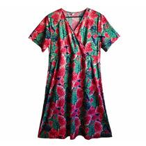 Vestido Estampado Con Flores Rojas De Seda Fría