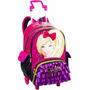 Mochila Barbie 16z Com Rodinhas, Alças E Bolsinha.